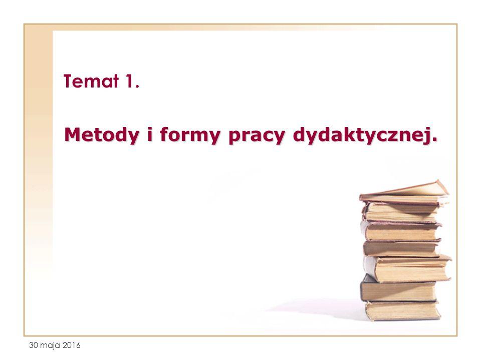 30 maja 2016 Temat 1. Metody i formy pracy dydaktycznej.