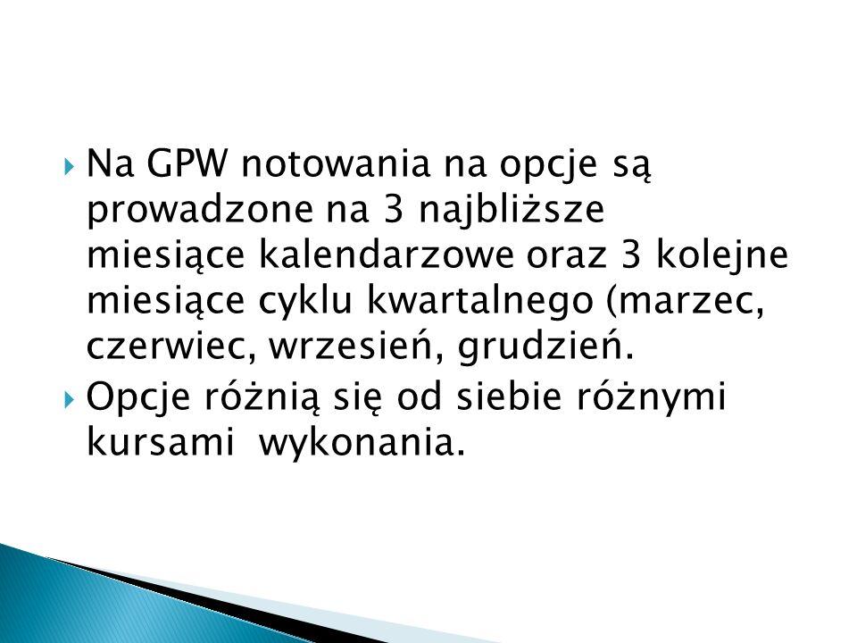  Na GPW notowania na opcje są prowadzone na 3 najbliższe miesiące kalendarzowe oraz 3 kolejne miesiące cyklu kwartalnego (marzec, czerwiec, wrzesień, grudzień.