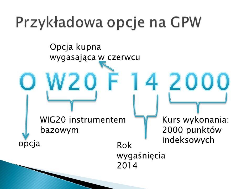 opcja WIG20 instrumentem bazowym Opcja kupna wygasająca w czerwcu Rok wygaśnięcia 2014 Kurs wykonania: 2000 punktów indeksowych