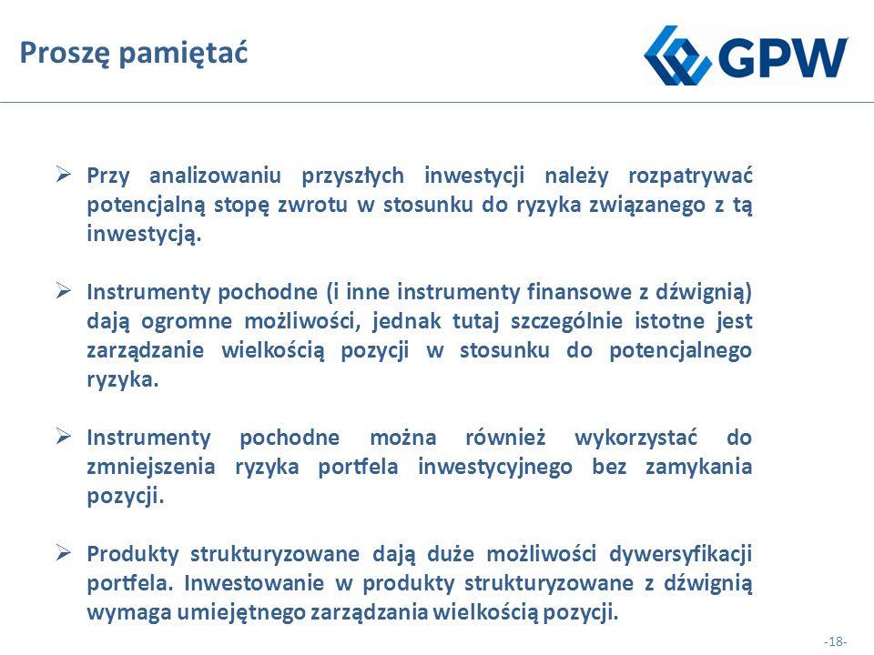 -18- Proszę pamiętać  Przy analizowaniu przyszłych inwestycji należy rozpatrywać potencjalną stopę zwrotu w stosunku do ryzyka związanego z tą inwestycją.