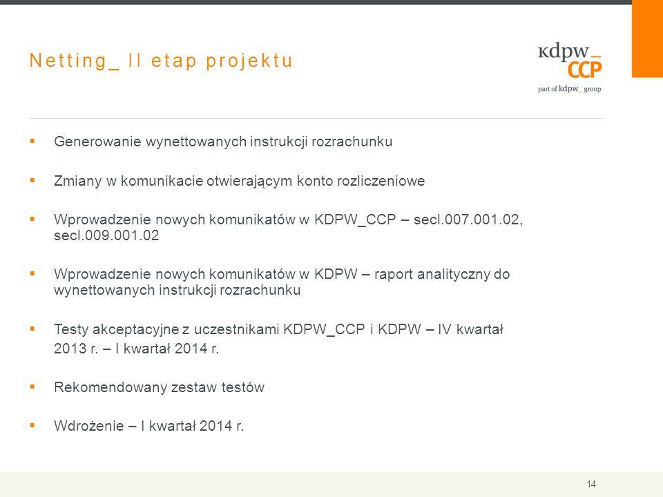 Netting_ II etap projektu  Generowanie wynettowanych instrukcji rozrachunku  Zmiany w komunikacie otwierającym konto rozliczeniowe  Wprowadzenie nowych komunikatów w KDPW_CCP – secl.007.001.02, secl.009.001.02  Wprowadzenie nowych komunikatów w KDPW – raport analityczny do wynettowanych instrukcji rozrachunku  Testy akceptacyjne z uczestnikami KDPW_CCP i KDPW – IV kwartał 2013 r.