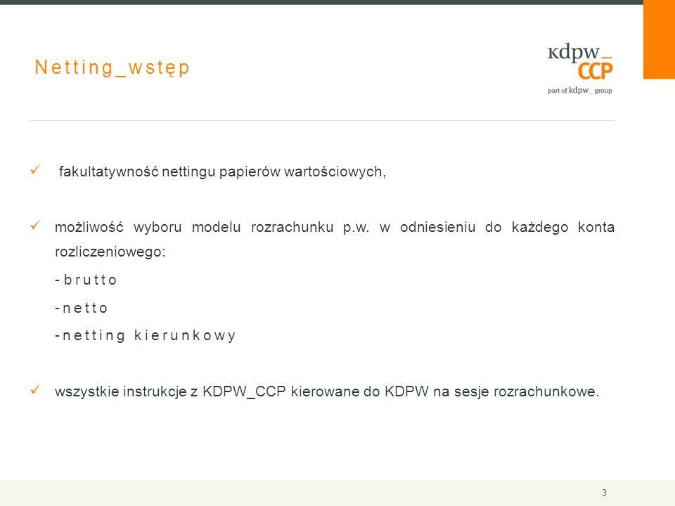 Netting_wstęp fakultatywność nettingu papierów wartościowych, możliwość wyboru modelu rozrachunku p.w. w odniesieniu do każdego konta rozliczeniowego: