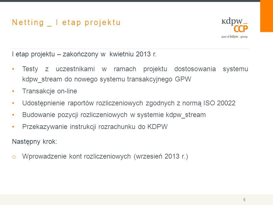 Netting _ I etap projektu I etap projektu – zakończony w kwietniu 2013 r. Testy z uczestnikami w ramach projektu dostosowania systemu kdpw_stream do n