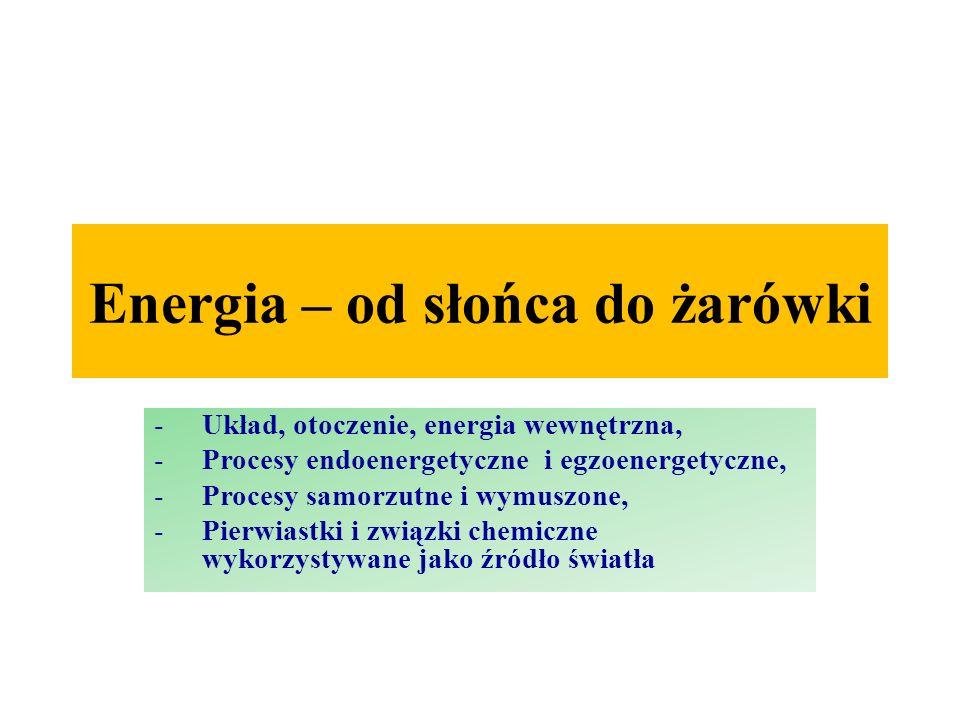 Energia – od słońca do żarówki -Układ, otoczenie, energia wewnętrzna, -Procesy endoenergetyczne i egzoenergetyczne, -Procesy samorzutne i wymuszone, -Pierwiastki i związki chemiczne wykorzystywane jako źródło światła