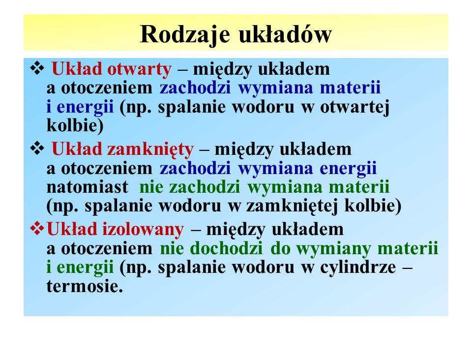 Rodzaje układów  Układ otwarty – między układem a otoczeniem zachodzi wymiana materii i energii (np. spalanie wodoru w otwartej kolbie)  Układ zamkn