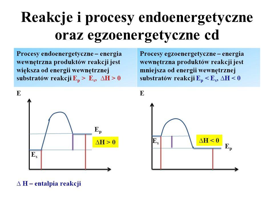 Reakcje i procesy endoenergetyczne oraz egzoenergetyczne cd Procesy endoenergetyczne – energia wewnętrzna produktów reakcji jest większa od energii we