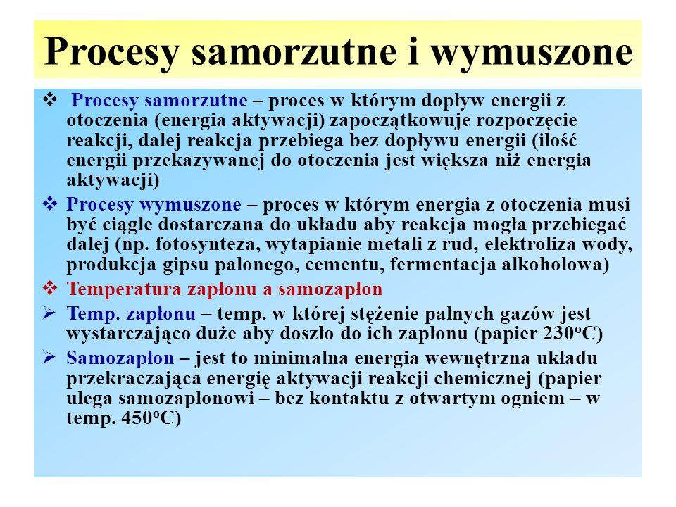 Procesy samorzutne i wymuszone  Procesy samorzutne – proces w którym dopływ energii z otoczenia (energia aktywacji) zapoczątkowuje rozpoczęcie reakcj