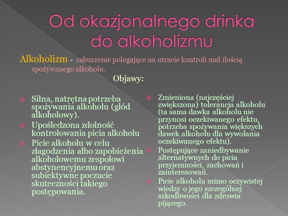 Objawy:  Silna, natrętna potrzeba spożywania alkoholu (głód alkoholowy).  Upośledzona zdolność kontrolowania picia alkoholu  Picie alkoholu w celu