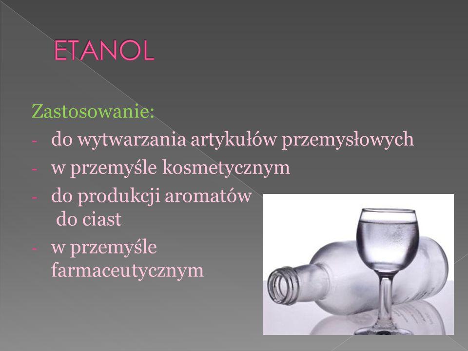 Zastosowanie: - do wytwarzania artykułów przemysłowych - w przemyśle kosmetycznym - do produkcji aromatów do ciast - w przemyśle farmaceutycznym