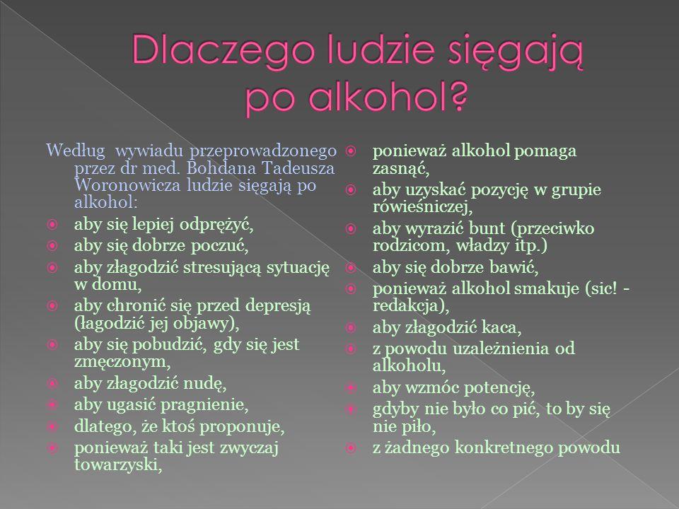 Według wywiadu przeprowadzonego przez dr med. Bohdana Tadeusza Woronowicza ludzie sięgają po alkohol:  aby się lepiej odprężyć,  aby się dobrze pocz