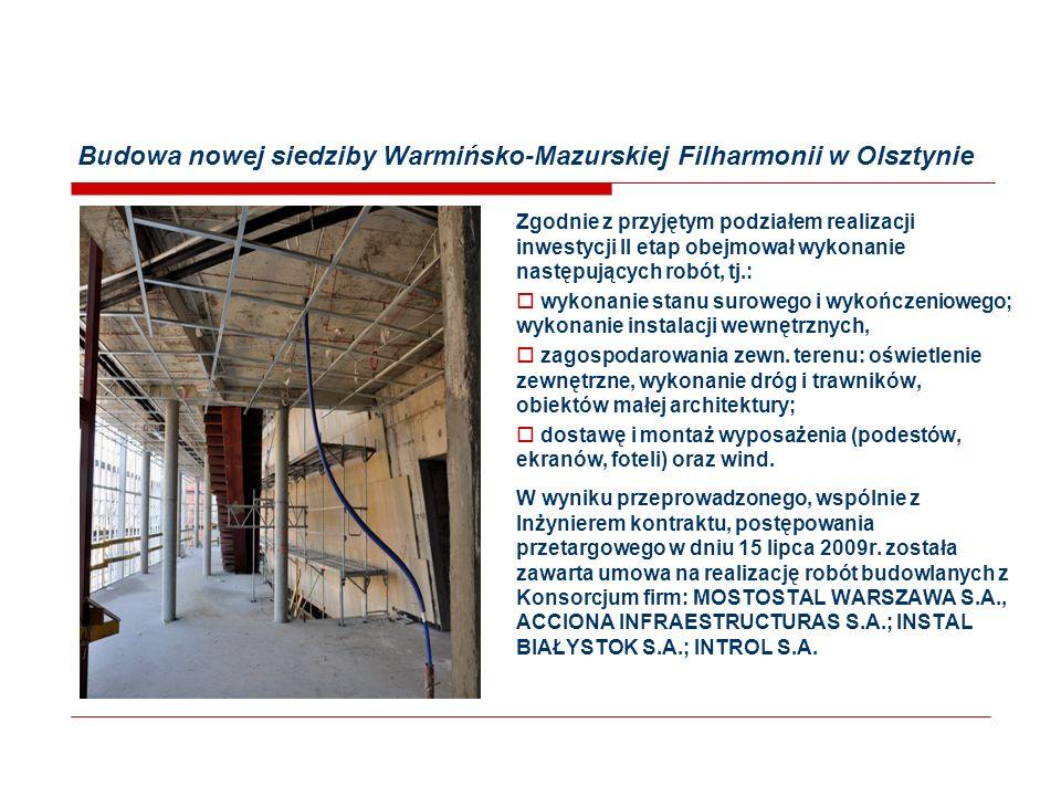 Budowa nowej siedziby Warmińsko-Mazurskiej Filharmonii w Olsztynie Zgodnie z przyjętym podziałem realizacji inwestycji II etap obejmował wykonanie następujących robót, tj.:  wykonanie stanu surowego i wykończeniowego; wykonanie instalacji wewnętrznych,  zagospodarowania zewn.