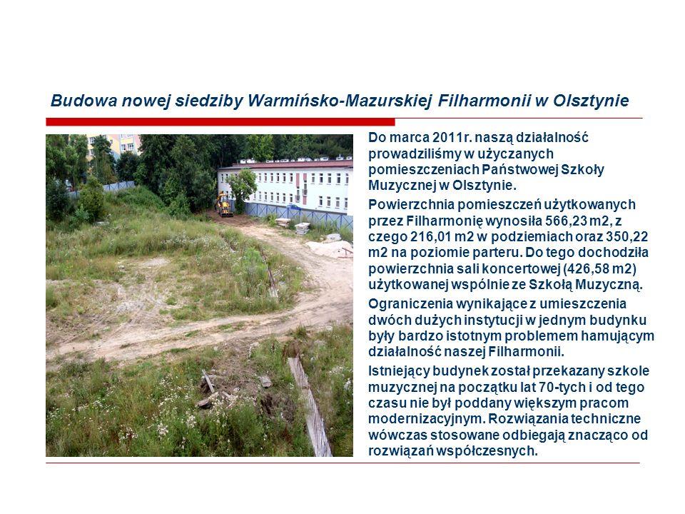 Budowa nowej siedziby Warmińsko-Mazurskiej Filharmonii w Olsztynie Do marca 2011r.