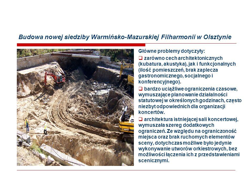 Budowa nowej siedziby Warmińsko-Mazurskiej Filharmonii w Olsztynie Główne problemy dotyczyły:  zarówno cech architektonicznych (kubatura, akustyka), jak i funkcjonalnych (ilość pomieszczeń, brak zaplecza gastronomicznego, socjalnego i konferencyjnego).