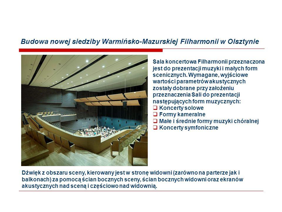Budowa nowej siedziby Warmińsko-Mazurskiej Filharmonii w Olsztynie Sala koncertowa Filharmonii przeznaczona jest do prezentacji muzyki i małych form scenicznych.