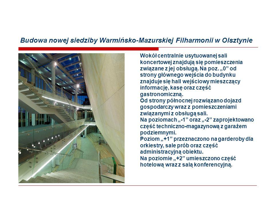 Budowa nowej siedziby Warmińsko-Mazurskiej Filharmonii w Olsztynie Budynek Filharmonii Powierzchnia zabudowy2 502.90 m2 Kubatura58 168.77 m3 Powierzchnia całkowita12 765.45 m2 Łączna powierzchnia użytkowa10 186.24 m2 Ilość kondygnacji5 - nadziemnych3 - podziemnych2 Parametry Sali Koncertowej Ilość miejsc505 na poziomie podstawowym365 na balkonach140 Wysokość sali14,50 m Szerokość sali25,18 m Powierzchnia sali1 044.69 m2