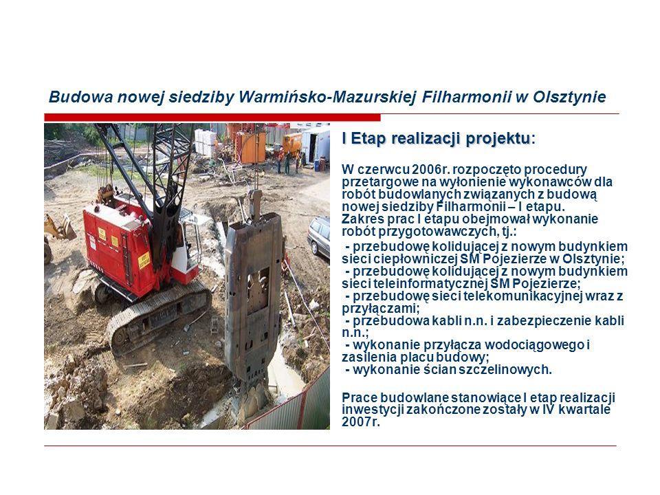 Budowa nowej siedziby Warmińsko-Mazurskiej Filharmonii w Olsztynie II Etap realizacji projektu II Etap realizacji projektu: Z początkiem 2008r.