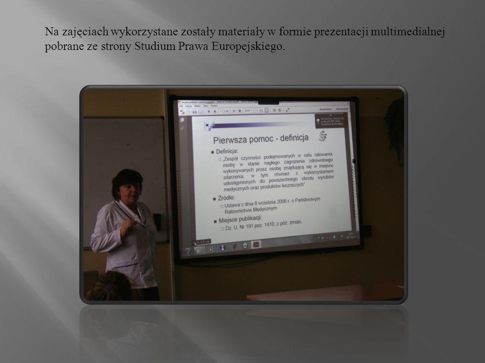 Na zajęciach wykorzystane zostały materiały w formie prezentacji multimedialnej pobrane ze strony Studium Prawa Europejskiego.