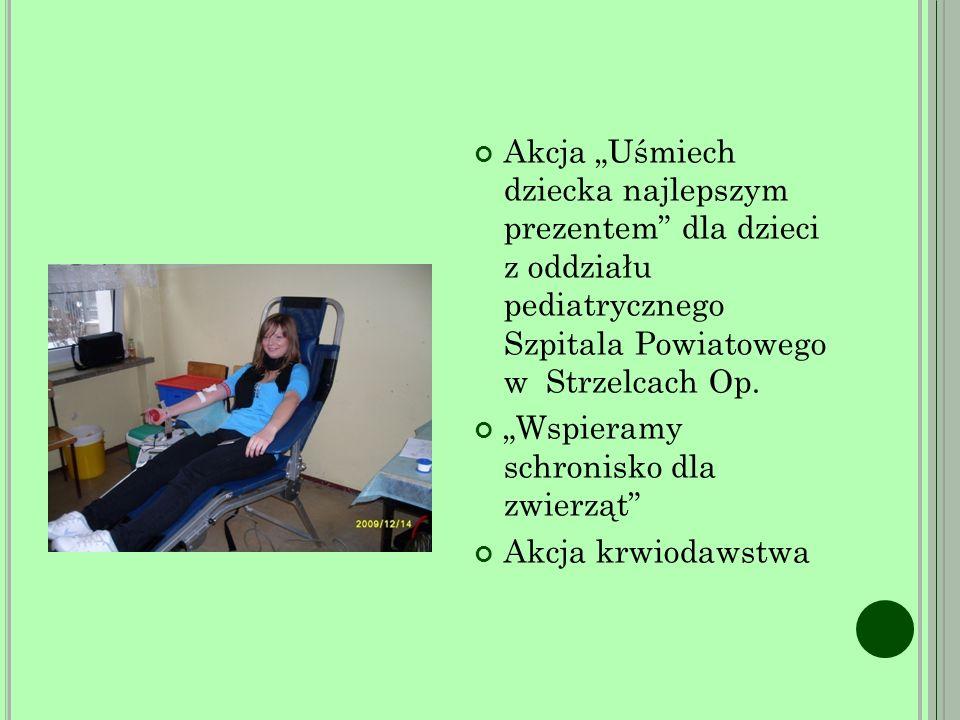 """Akcja """"Uśmiech dziecka najlepszym prezentem dla dzieci z oddziału pediatrycznego Szpitala Powiatowego w Strzelcach Op."""