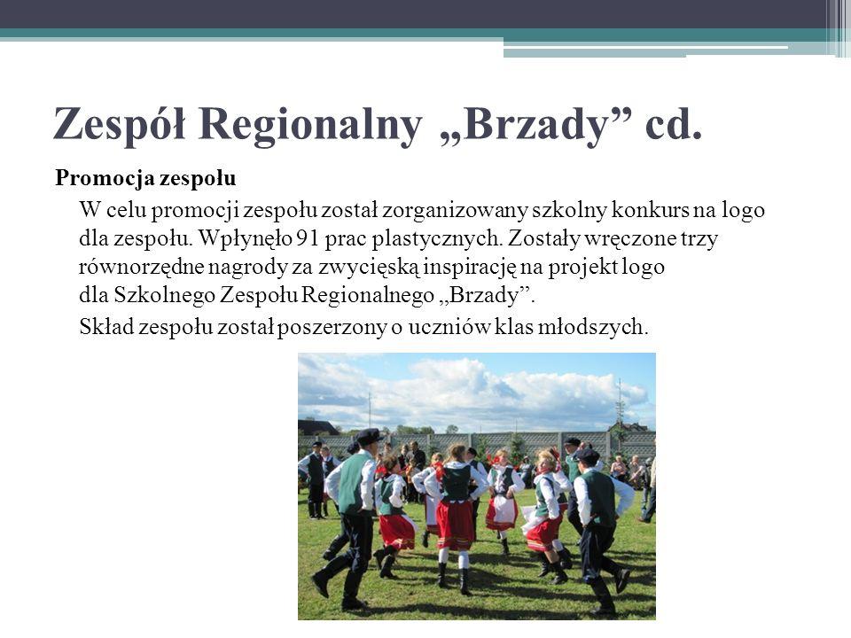 """Zespół Regionalny """"Brzady"""" cd. Promocja zespołu W celu promocji zespołu został zorganizowany szkolny konkurs na logo dla zespołu. Wpłynęło 91 prac pla"""