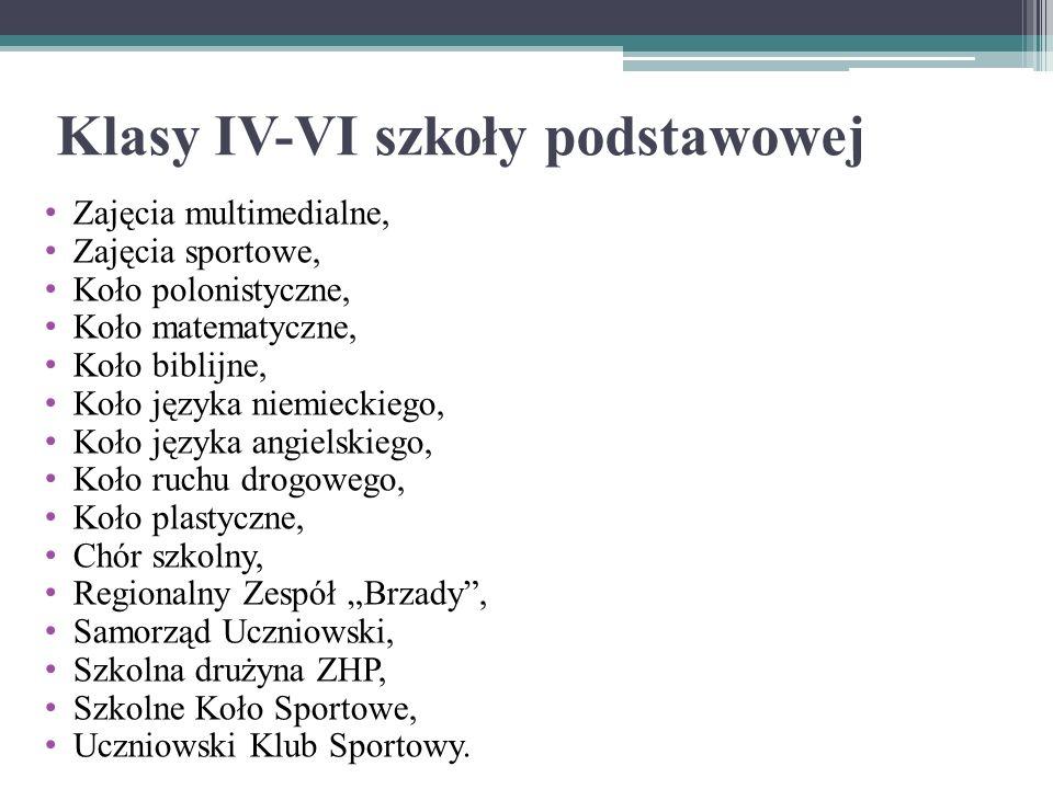 Klasy IV-VI szkoły podstawowej Zajęcia multimedialne, Zajęcia sportowe, Koło polonistyczne, Koło matematyczne, Koło biblijne, Koło języka niemieckiego