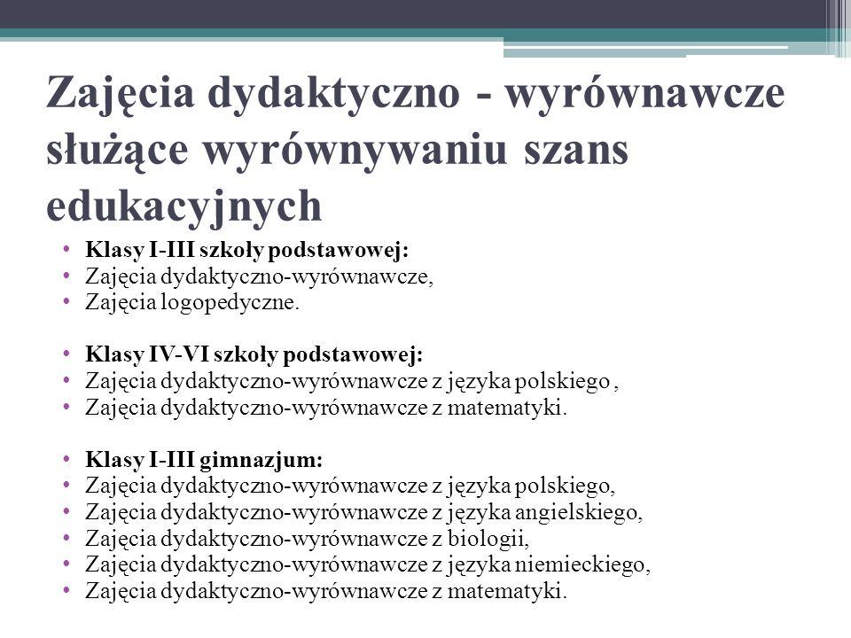 Zajęcia dydaktyczno - wyrównawcze służące wyrównywaniu szans edukacyjnych Klasy I-III szkoły podstawowej: Zajęcia dydaktyczno-wyrównawcze, Zajęcia logopedyczne.