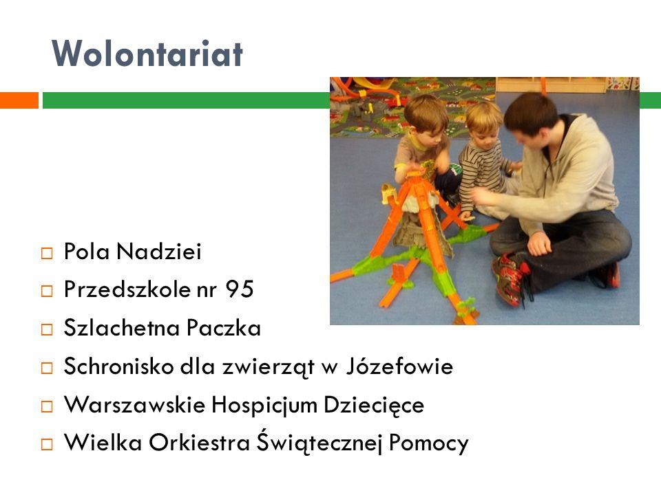 Wolontariat  Pola Nadziei  Przedszkole nr 95  Szlachetna Paczka  Schronisko dla zwierząt w Józefowie  Warszawskie Hospicjum Dziecięce  Wielka Or