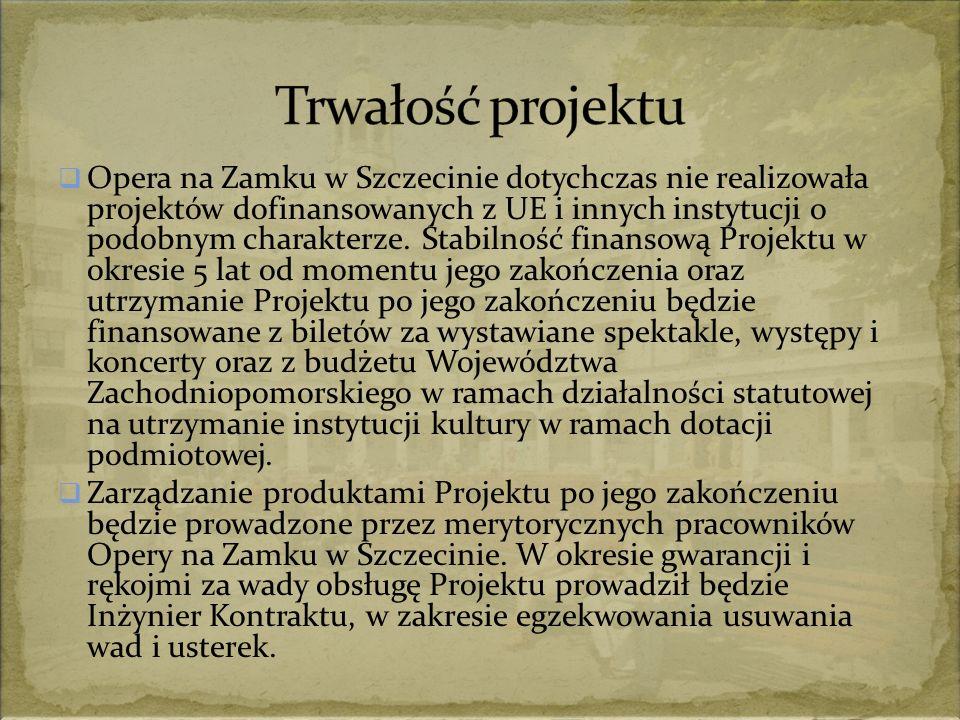  Opera na Zamku w Szczecinie dotychczas nie realizowała projektów dofinansowanych z UE i innych instytucji o podobnym charakterze.