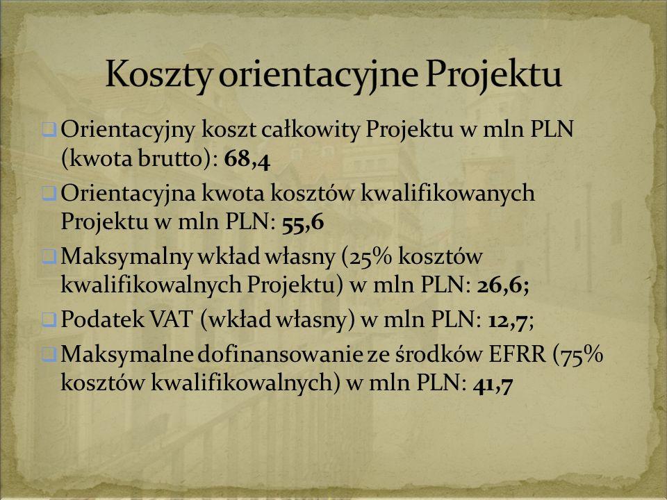  Orientacyjny koszt całkowity Projektu w mln PLN (kwota brutto): 68,4  Orientacyjna kwota kosztów kwalifikowanych Projektu w mln PLN: 55,6  Maksymalny wkład własny (25% kosztów kwalifikowalnych Projektu) w mln PLN: 26,6;  Podatek VAT (wkład własny) w mln PLN: 12,7;  Maksymalne dofinansowanie ze środków EFRR (75% kosztów kwalifikowalnych) w mln PLN: 41,7