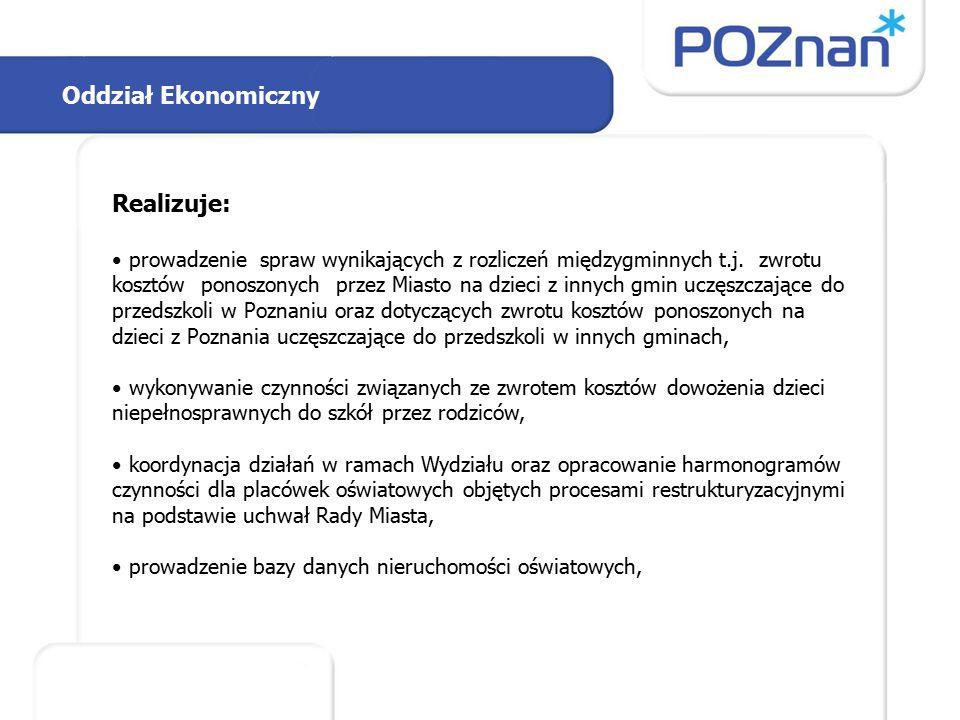 Oddział Ekonomiczny Realizuje: prowadzenie spraw wynikających z rozliczeń międzygminnych t.j.