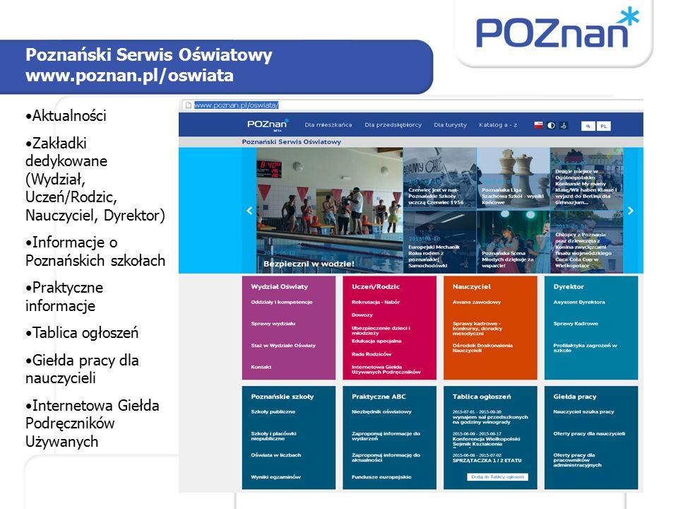 Poznański Serwis Oświatowy www.poznan.pl/oswiata Aktualności Zakładki dedykowane (Wydział, Uczeń/Rodzic, Nauczyciel, Dyrektor) Informacje o Poznańskic