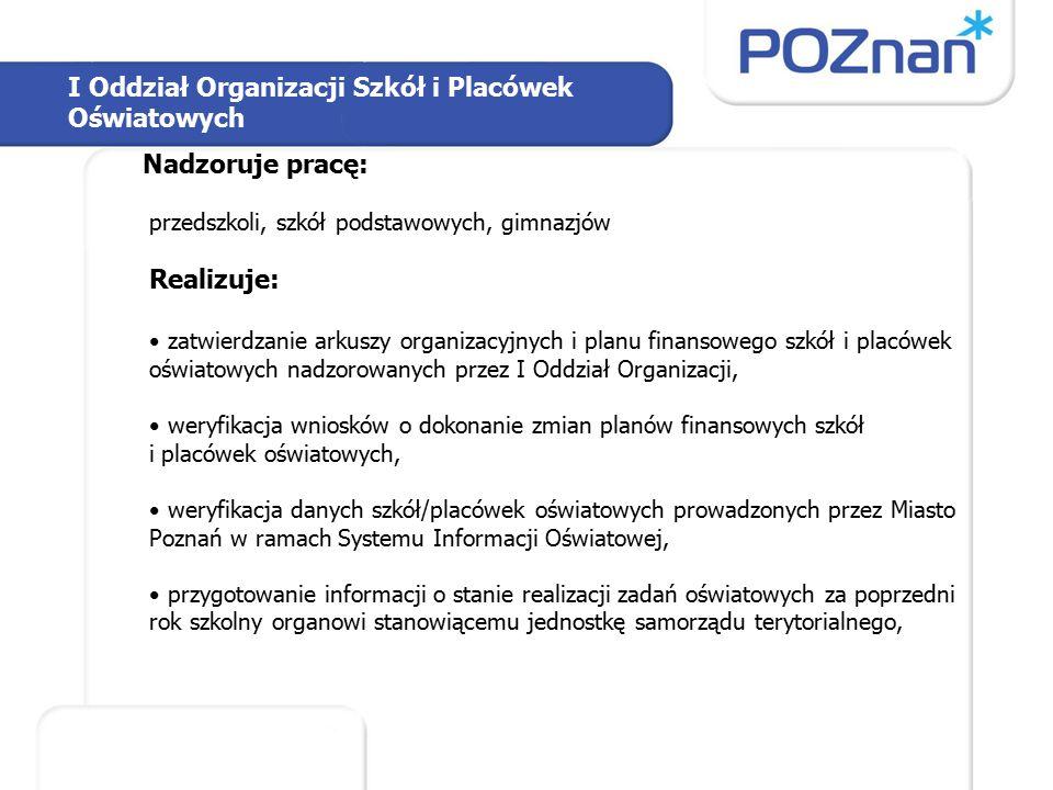 I Oddział Organizacji Szkół i Placówek Oświatowych - c.d.