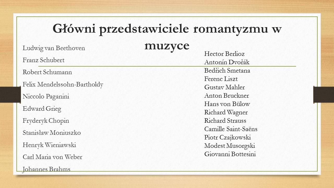 Główni przedstawiciele romantyzmu w muzyce Ludwig van Beethoven Franz Schubert Robert Schumann Felix Mendelssohn-Bartholdy Niccolo Paganini Edward Gri