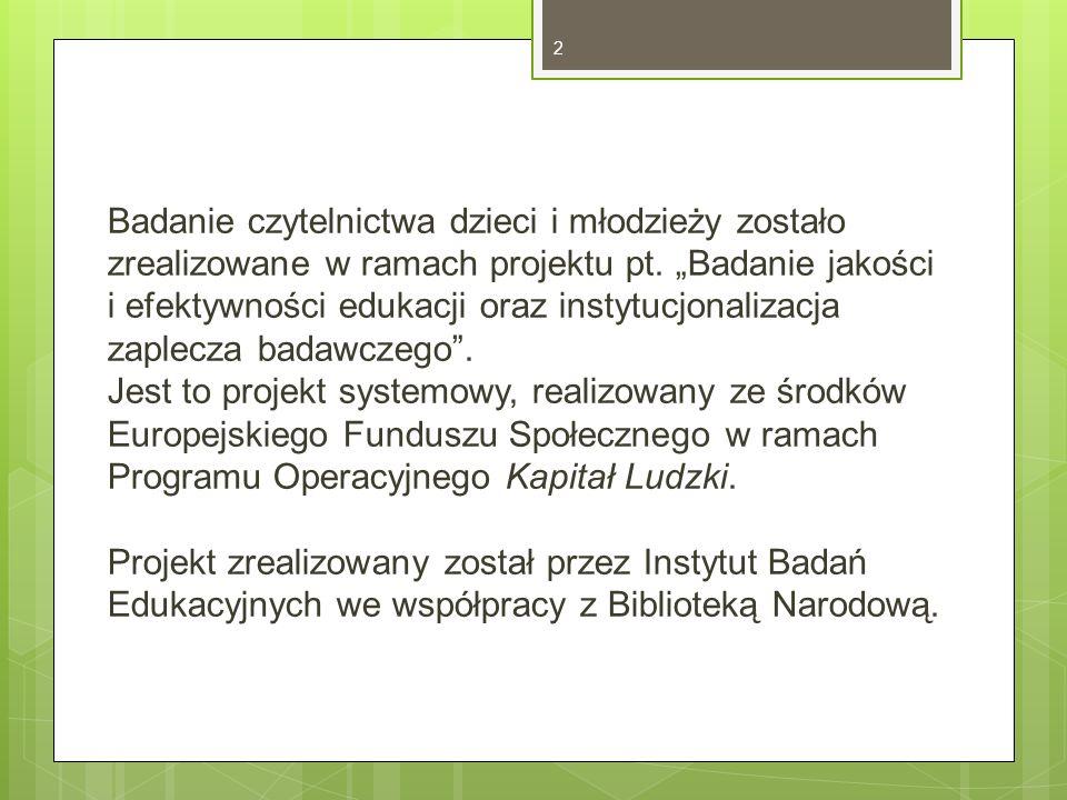 Badanie czytelnictwa dzieci i młodzieży zostało zrealizowane w ramach projektu pt.
