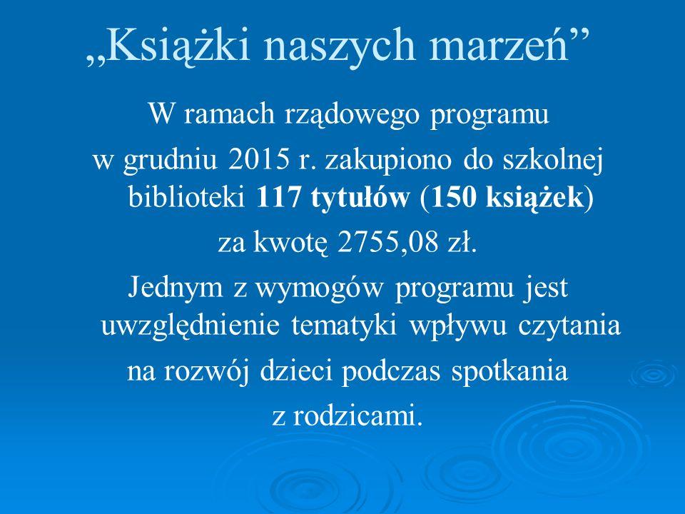 """""""Książki naszych marzeń W ramach rządowego programu w grudniu 2015 r."""