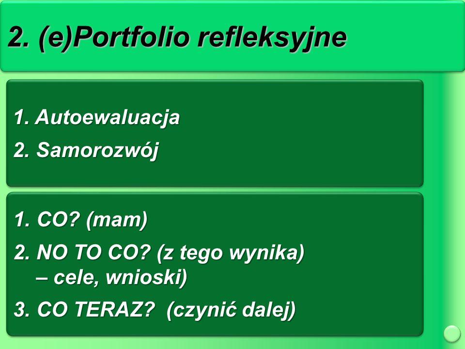 2. (e)Portfolio refleksyjne 1. Autoewaluacja 2. Samorozwój 1.
