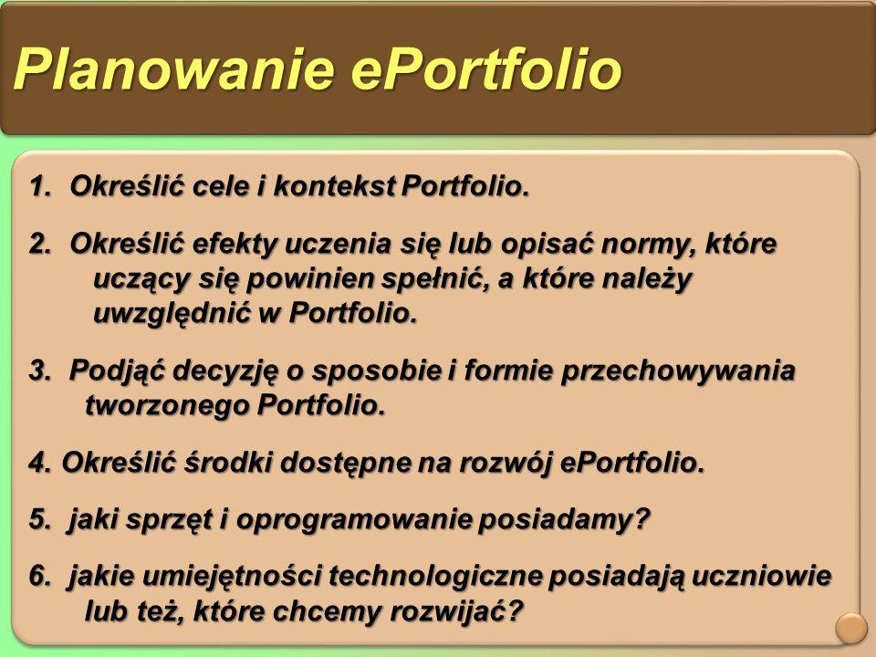 Planowanie ePortfolio 1. Określić cele i kontekst Portfolio.