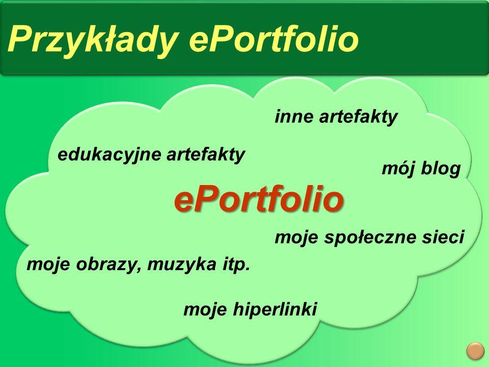 Przykłady ePortfolio mój blog moje społeczne sieci moje obrazy, muzyka itp.