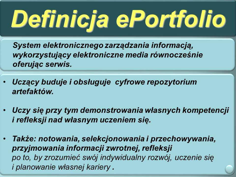 Definicja ePortfolio System elektronicznego zarządzania informacją, wykorzystujący elektroniczne media równocześnie oferując serwis.
