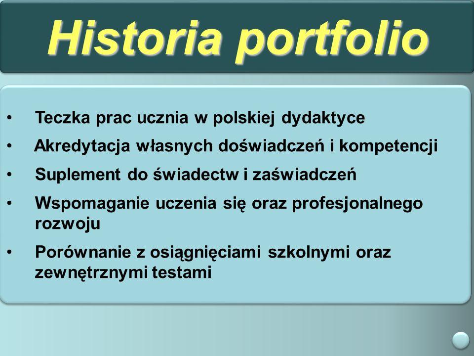 Historia portfolio Teczka prac ucznia w polskiej dydaktyce Akredytacja własnych doświadczeń i kompetencji Suplement do świadectw i zaświadczeń Wspomaganie uczenia się oraz profesjonalnego rozwoju Porównanie z osiągnięciami szkolnymi oraz zewnętrznymi testami Teczka prac ucznia w polskiej dydaktyce Akredytacja własnych doświadczeń i kompetencji Suplement do świadectw i zaświadczeń Wspomaganie uczenia się oraz profesjonalnego rozwoju Porównanie z osiągnięciami szkolnymi oraz zewnętrznymi testami