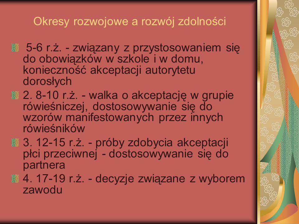 Okresy rozwojowe a rozwój zdolności 5-6 r.ż.