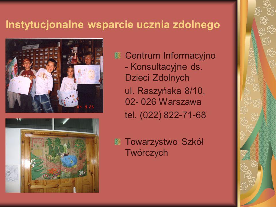 Instytucjonalne wsparcie ucznia zdolnego Centrum Informacyjno - Konsultacyjne ds.