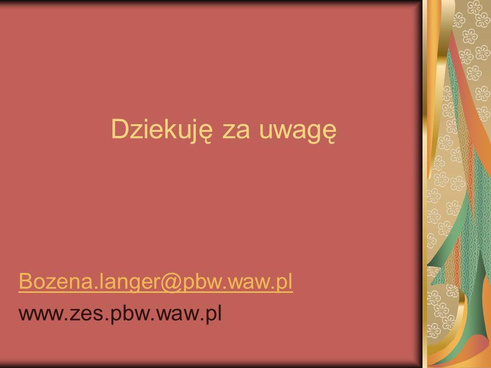Dziekuję za uwagę Bozena.langer@pbw.waw.pl www.zes.pbw.waw.pl