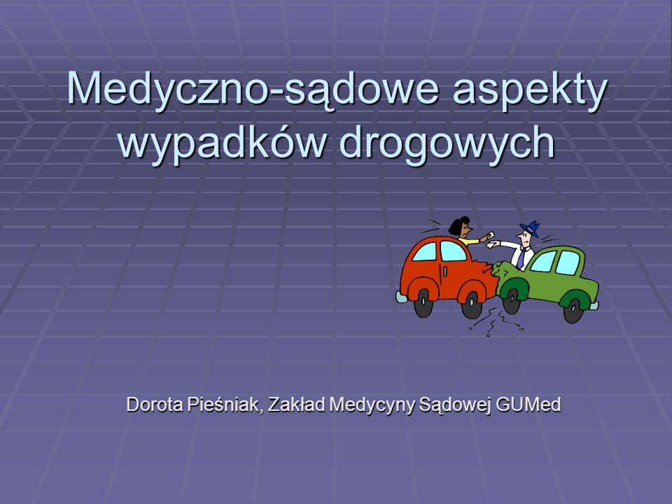 Medyczno-sądowe aspekty wypadków drogowych Dorota Pieśniak, Zakład Medycyny Sądowej GUMed