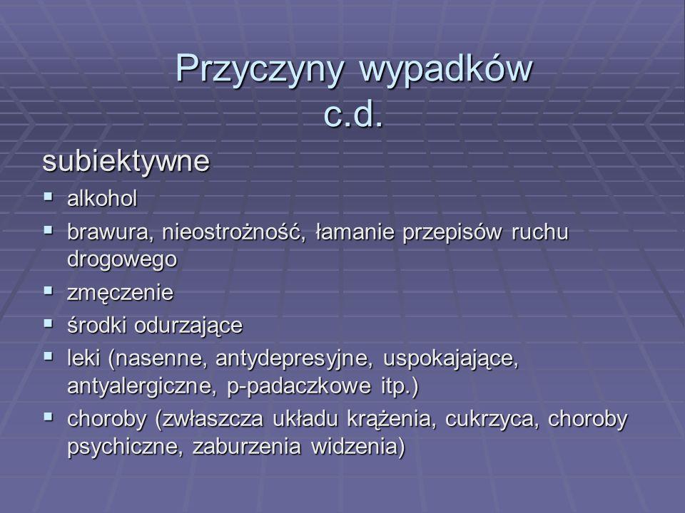 Przyczyny wypadków c.d.