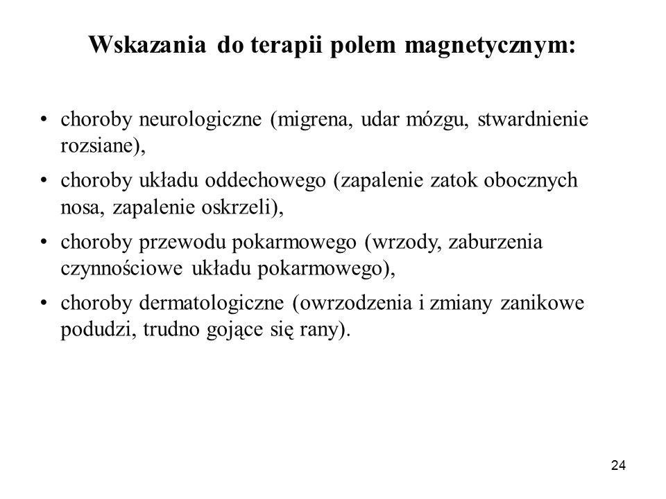 24 Wskazania do terapii polem magnetycznym: choroby neurologiczne (migrena, udar mózgu, stwardnienie rozsiane), choroby układu oddechowego (zapalenie zatok obocznych nosa, zapalenie oskrzeli), choroby przewodu pokarmowego (wrzody, zaburzenia czynnościowe układu pokarmowego), choroby dermatologiczne (owrzodzenia i zmiany zanikowe podudzi, trudno gojące się rany).