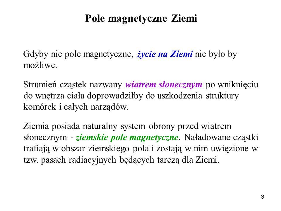 3 Pole magnetyczne Ziemi Gdyby nie pole magnetyczne, życie na Ziemi nie było by możliwe.