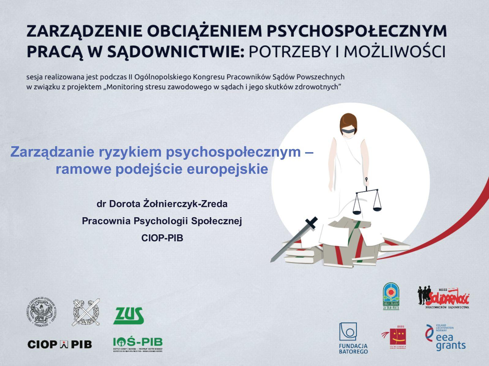Zarządzanie ryzykiem psychospołecznym – ramowe podejście europejskie dr Dorota Żołnierczyk-Zreda Pracownia Psychologii Społecznej CIOP-PIB