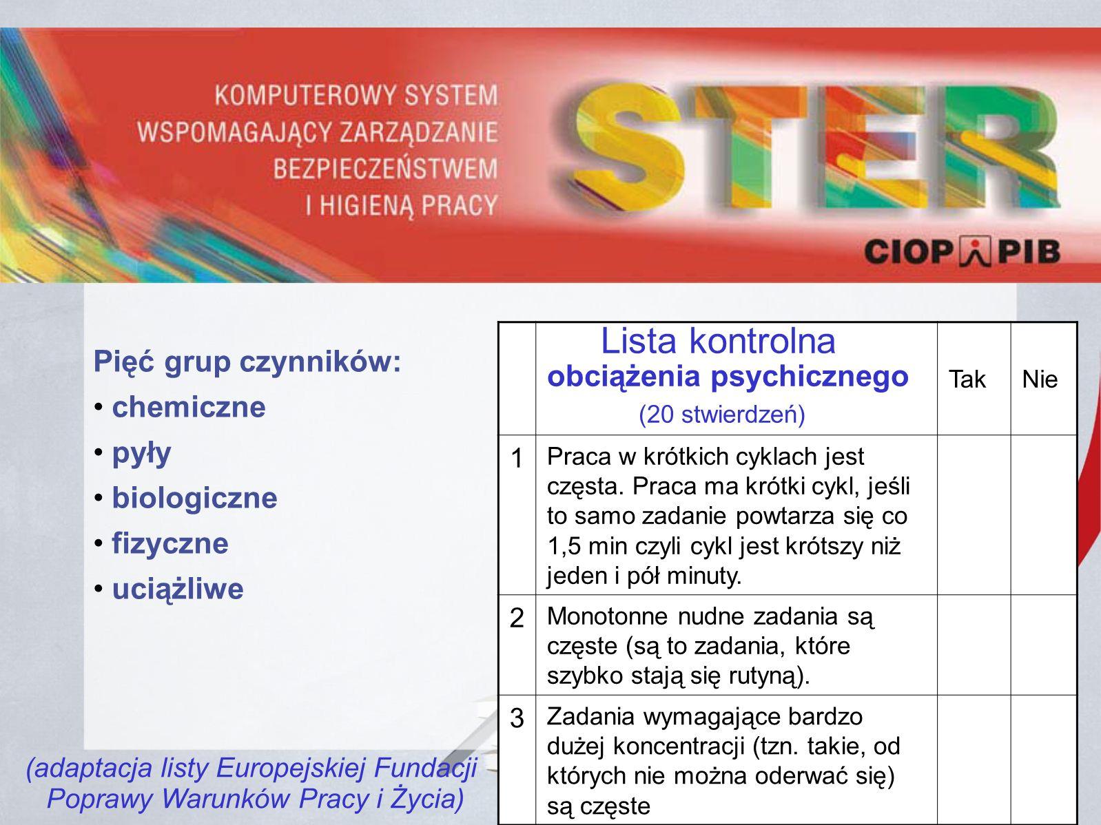 Lista kontrolna obciążenia psychicznego (20 stwierdzeń) TakNie 1 Praca w krótkich cyklach jest częsta.