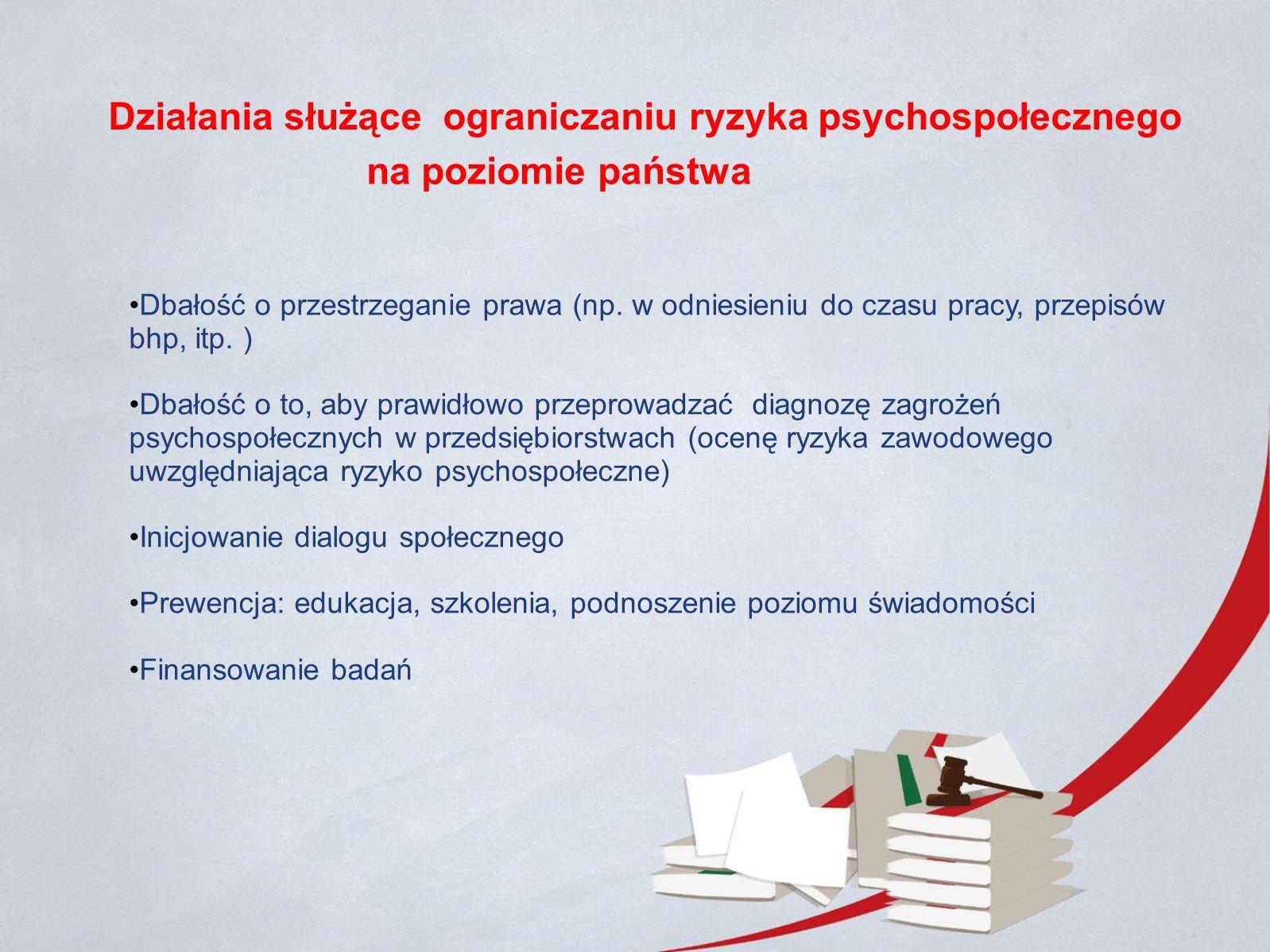 Działania służące ograniczaniu ryzyka psychospołecznego Dbałość o przestrzeganie prawa (np.