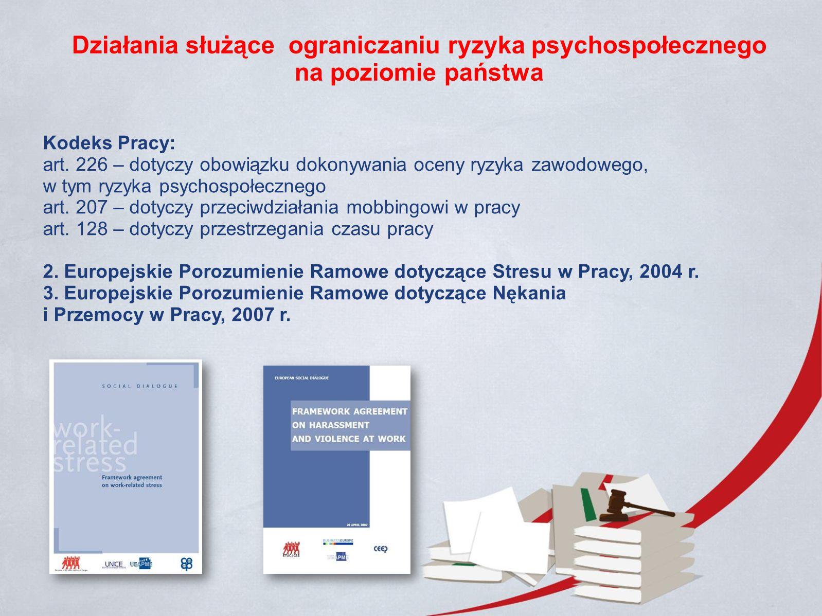 Działania służące ograniczaniu ryzyka psychospołecznego na poziomie państwa Kodeks Pracy: art.